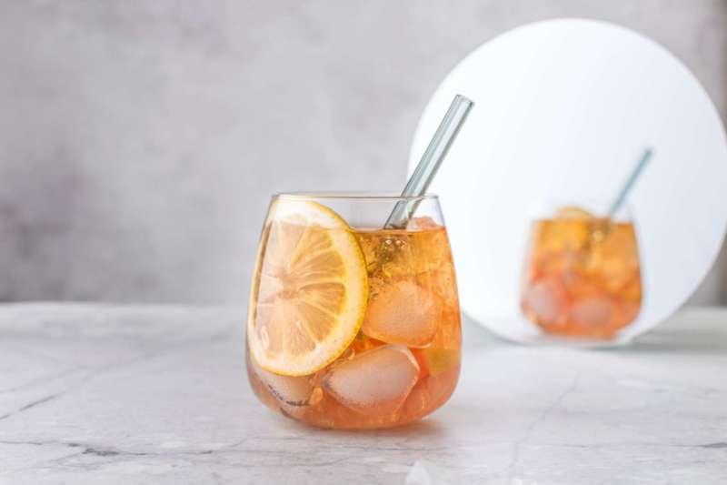 Weed infused drink, lemon slice, straw