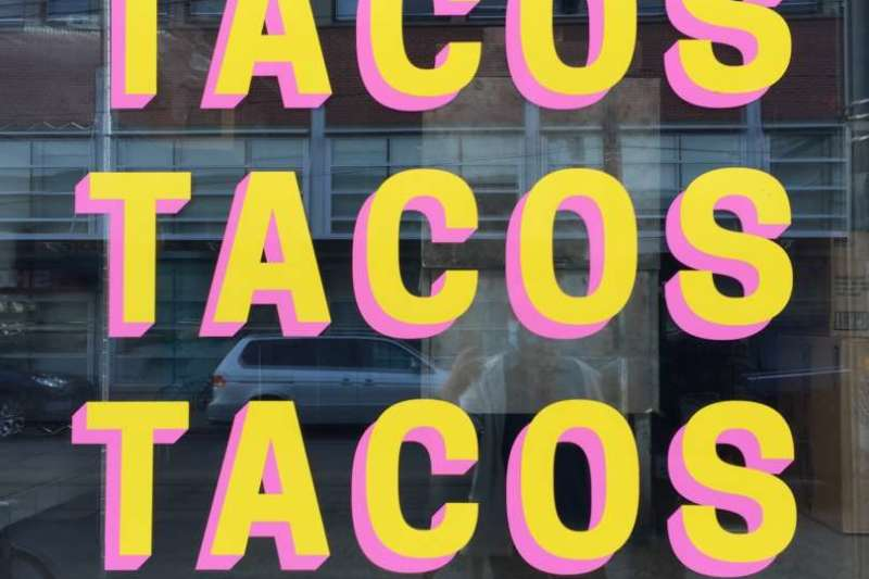 Sign with Tacos, Tacos, Tacos